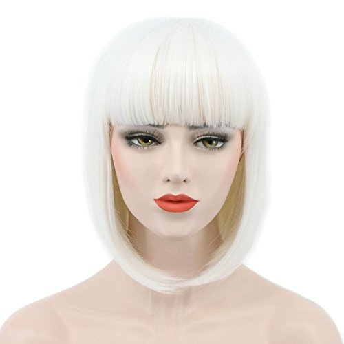 Karlery Women Short Straight Bob Fasion Wig Flat Bangs Cosplay Party Wig Costume Halloween Wig (White) ()