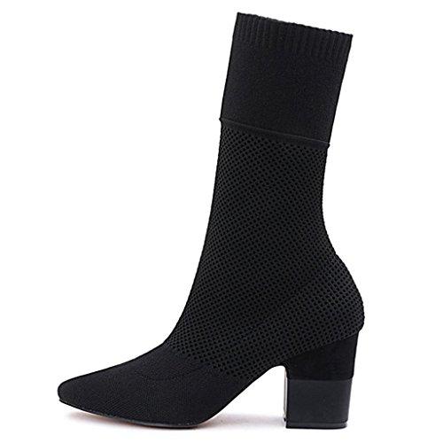 donna BLACK Xue calzini di Stivali da amp;zi Scarpe da al black 38 Martin da Stivaletti da ginnastica ginocchio stivali vitello alti Stivali 42 ginocchio da in ginnastica stovepipe qFCZ7q