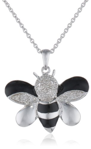 """Sterling Silver and Enamel Bumble Bee Diamond Accented Pendant Necklace, 18"""""""