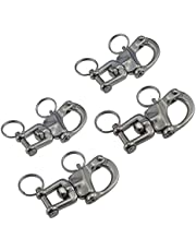 Pair of 2-3/4inch Jaw Swivel Snap Shackle 316 Stainless Steel for Sailboat Spinnaker Halyard