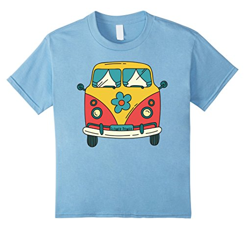 60s 70s Fashion (Kids Vintage Hippie Bus / Van T-Shirt - Flower Power 60s & 70s 12 Baby Blue)