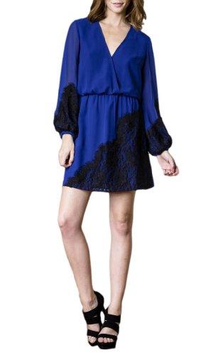 Le Bleu Robe Col V Femmes D'étiquettes Blaque