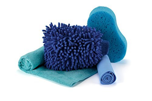 Car Wash Kit By Cojino - Mitt, Sponge, Microfiber Cloth, Chamois Towel