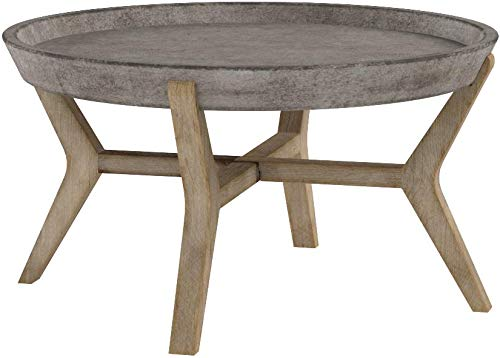 Safavieh Outdoor Collection Wynn Modern Concrete Round 18.1-inch Coffee Table