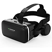 3D VR Headset Virtual Reality Headset of VR SHINECON Direct-VR Goggles for 3D Movie Video Game with Adjustable Stereo Headphone-Compatible with iPhone, Samsung and Other 4.7-6.0 inches Smartphones