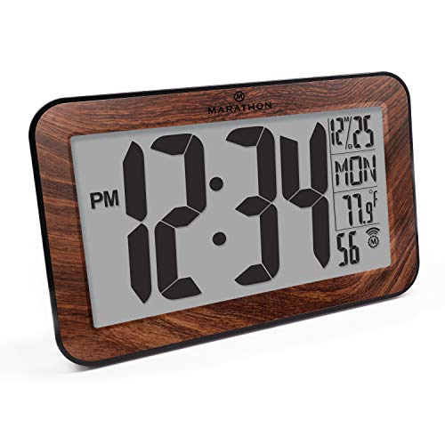 Marathon CL030033WD Commercial Grade Panoramic Atomic Wall Clock with Table Stand - Wood Grain Tone - Batteries Included