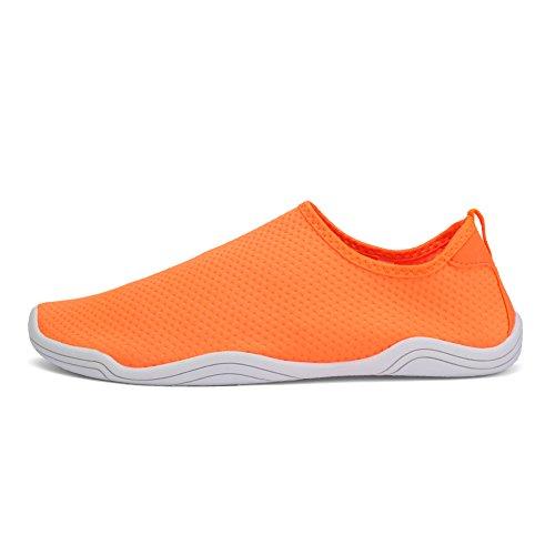 FCKEE Water Shoes Aqua Schuhe Slip-On Barfuß Leicht Leicht Quick-Dry Drainage Haltbare Sohle Mutifunktional für Beach Pool Surfen Frauen Männer D-Orange