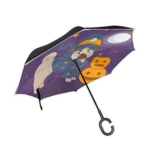 Fun Pug with Halloween Costume Double Layer Inverted Car Umbrellas Reverse Folding Umbrella Windproof UV Protection with C-Shaped Handle