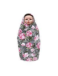 WOCACHI Baby Swaddle Receiving Blanket Headband Set Flower Newborn Sleeping Wrap
