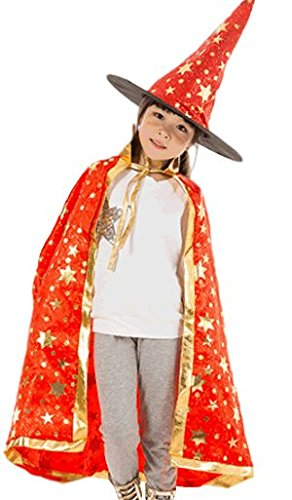 Sagittarius.kyt Children's Witch Cloak and Hat colorful Costume Cosplay Halloween (One Size, Red)