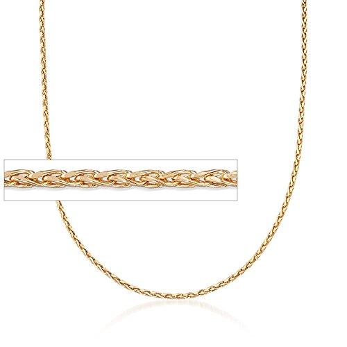 Ross-Simons Italian 2mm 18kt Yellow Gold Diamond-Cut Wheat Chain Necklace. 18