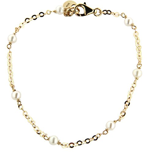 18K Yellow Gold Cultivated Pearls Chain Bracelet 7 in by Amalia