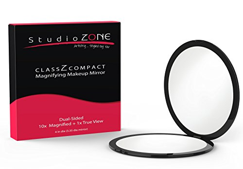 Magnification Purse Mirror (BEST COMPACT MIRROR - 10X MAGNIFYING MakeUp Mirror - Perfect for Purses - Travel - 2-sided with 10X Magnifying Mirror and 1x Mirror - ClassZ Compact Mirror By StudioZONE)