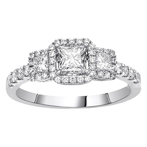 (14K White Gold 0.99ct TDW Princess Cut Diamond Halo Engagement Ring)