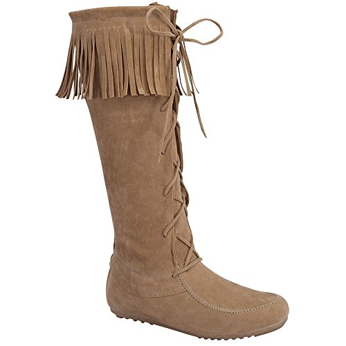 Forever Baylee-09 Women's Fashion Fringe Lace Up Knee High Boots,Beige,10