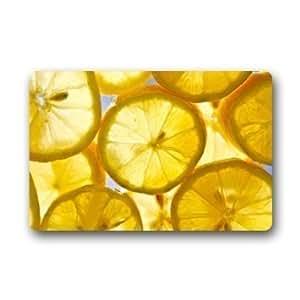 """Custom color naranja y limón patrón máquina lavable puerta alfombrillas para interiores Casa Felpudo 23.6""""L x 15,7"""" W"""