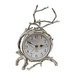 Global Views Elegant Twig Branch Nickel Table Clock | Mantel Desk Round Silver Natural