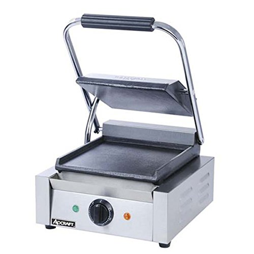 (Adcraft SG-811/F Smooth Electric Sandwich Grill, Stainless Steel, 1750-Watts, 120v, NSF)