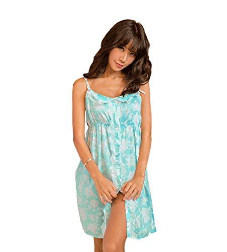 Descubierta Sling Casual Camisones Anchos Sin Mujer Elegante Cortos Vestido Floreadas Mangas Grün Verano Camisón Pijama Espalda De Moda Dormir aZqw76P