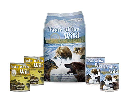 Taste of the Wild Dog-Food Pacific Stream Puppy Food Grain Free 6 Pack (1) 5lb Bag 4 12.5 oz Cans & 1 Lid