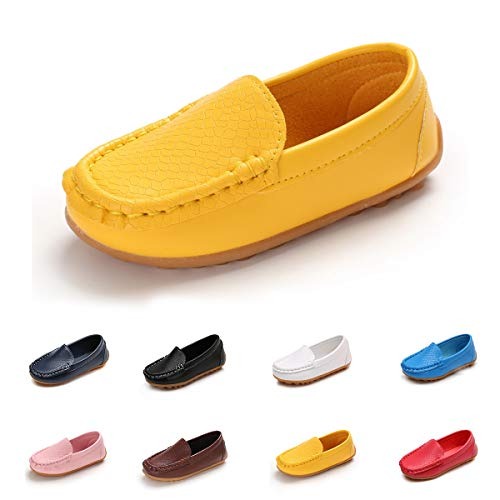 - E-FAK Toddler Boys Girls Soft Synthetic Leather Loafers Slip On Boat Dress Shoes Flat (Toddler/Little Kid/Big Kid)(11 M US Little Kid,Yellow)