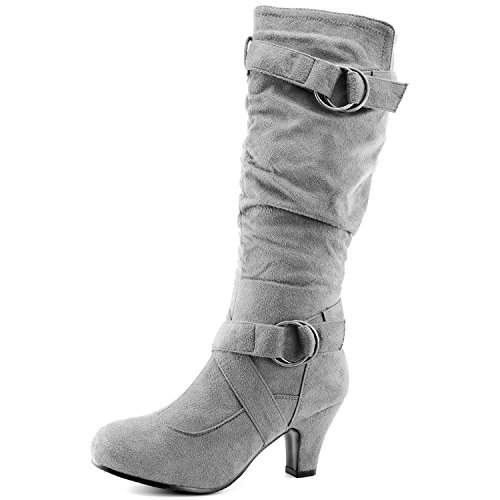"DailyShoes Women's Slouchy Mid Calf Strappy Boots Ankle Top Straps - 2"" Heel Fashion Boots Gray Sv"