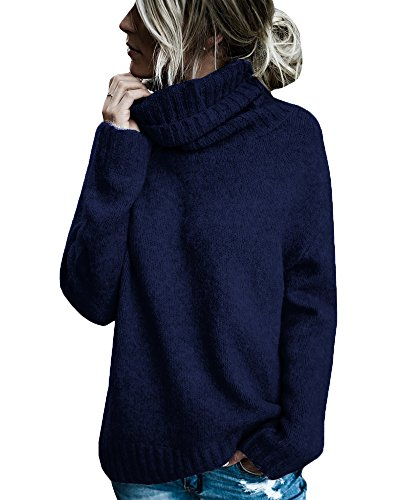 Beautife Womens Sweaters Casual Turtleneck Long Sleeve Soft Knitted Sweater Pullover (Medium, Navy) ()