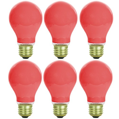 Sunlite 60A/R/6PK Incandescent Red A19 60W Light Bulbs, Medium (E26) Base, 6 Pack, 60 Watts, (Base Red Incandescent Light Bulb)