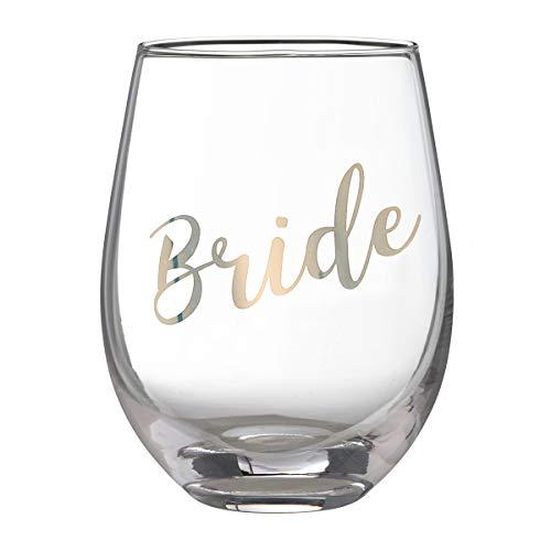 Bachelorette Party Wine Glasses (Lillian Rose G115 BR Gold Bride Stemless Wine Glass, 4.75
