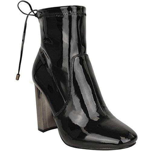 Mode Törstiga Kvinnor Blockera Hög Klack Chelsea Boots Stretchig Spets Binda Upp Storlek Svart Patent