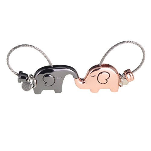 ASHMITA Cute Kiss Elephant Couple Keychain for Women Charm Romantic Valentine Gift by ASHMITA