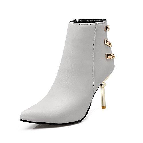 AmoonyFashion Womens Zipper High-Heels PU Solid Low-Top Boots Gray SQ1oCrUZd