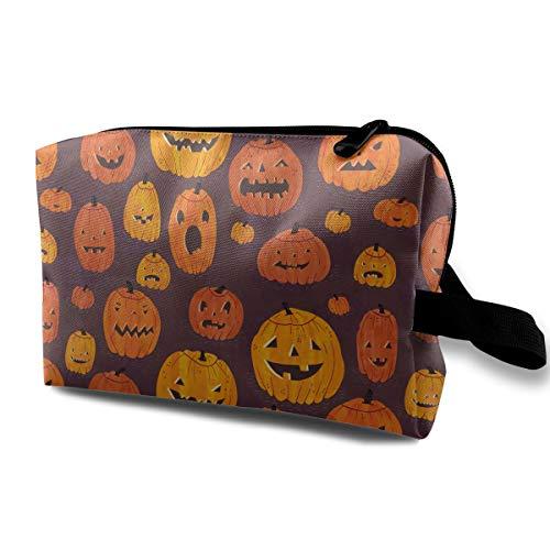 Portable Travel Cosmetic Bag Cute Halloween Pumpkin Graphics