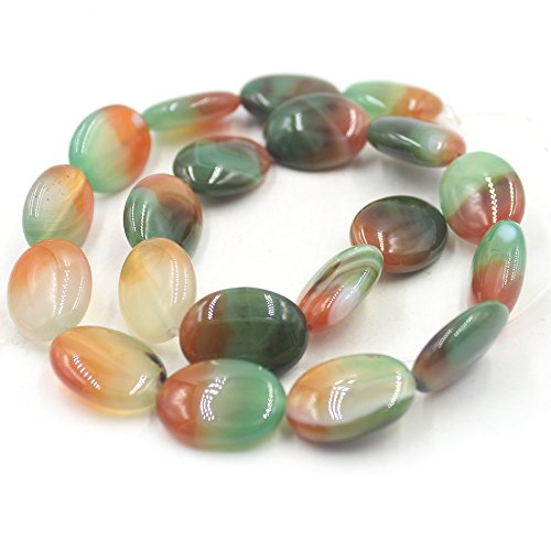 - SR BGSJ Jewelry Making Craft Natural 13x18mm Oval Rainbow Agate Gemstone Spacer Seed Beads Long Strand 15