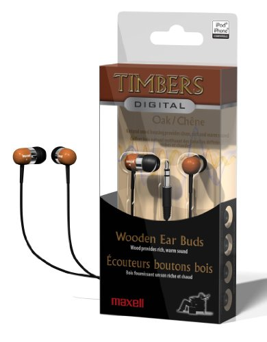 Maxell Digital Oak Wooden Timbers Stereo Earbuds for sale  Delivered anywhere in USA