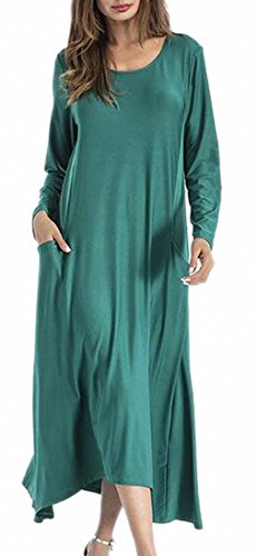 Casual Maxi A Color Long Line Solid Sleeve Jaycargogo 1 Womens Swing Dress 5ZFBUU
