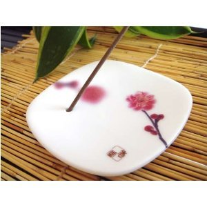 Japanese Ceramic Incense Plate - Pink Plum by Bene Gifts