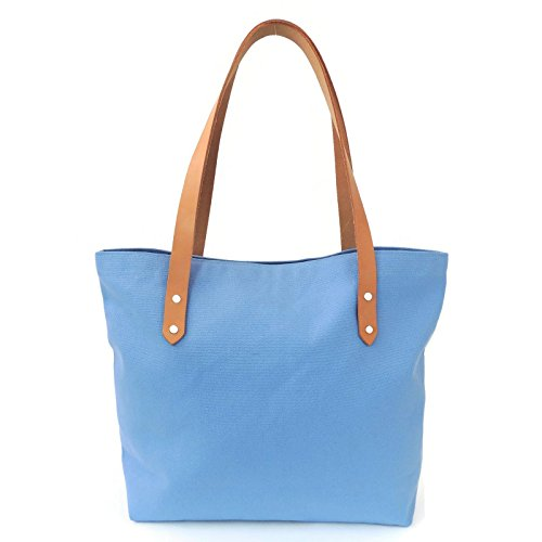 Sky Blue Canvas Market Tote Bag with Leather Straps