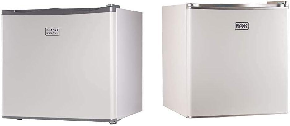 BLACK+DECKER BUFK12W Compact Upright Freezer Single Door, 1.2 Cubic Feet, White & BCRK17W Compact Refrigerator Energy Star Single Door Mini Fridge with Freezer, 1.7 Cubic Ft, White