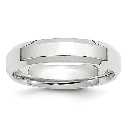 Mireval 10k White Gold Comfort Fit Beveled Edge Band 5 mm Size 11.5 ()