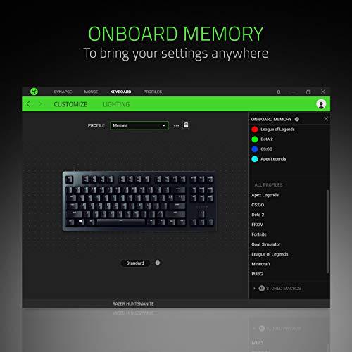 Razer Huntsman Tournament Edition TKL Tenkeyless Gaming Keyboard: Fastest Keyboard Switches Ever - Linear Optical Switches - Chroma RGB Lighting - PBT Keycaps - Onboard Memory - Classic Black