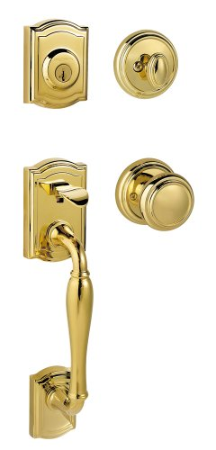 - Baldwin Prestige Wesley Single Cylinder Handleset with Alcott Knob featuring SmartKey in Lifetime Polished Brass