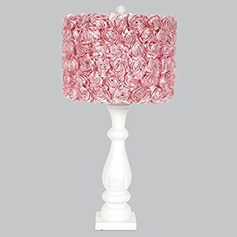 Jubilee Collection L71890W 4713 White Shabby Chic Lamp Base With Pink Rose  Garden Drum Shade