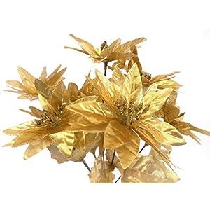 "4 Bushes Gold Christmas Poinsettia Artificial Silk Flowers 12"" Bouquet 7-952GD 91"