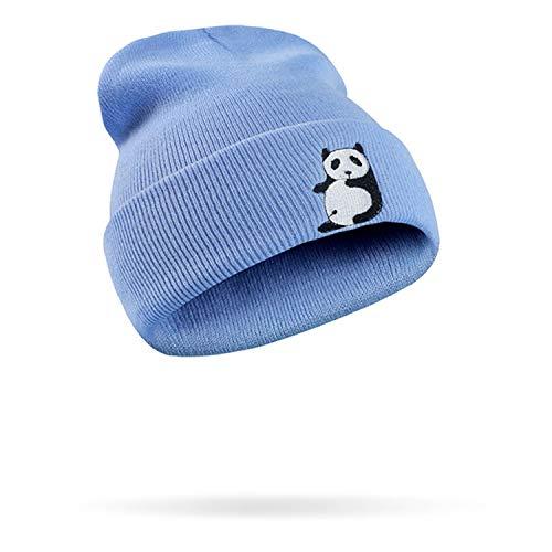 Kerr Kellogg Kawaii - Gorro de Punto para Mujer, acrílico, diseño de Panda, Azul, Talla única