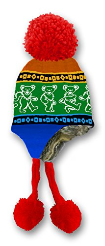 Rainbow Dancing Bears (Grateful Dead Knit Ski Hat With Ear Flaps Faux Fur Lining and Pom Pom Dancing Bear Rainbow)