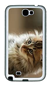 covers pretty cute fluffy cat TPU White case/cover for samsung galaxy N7100/2