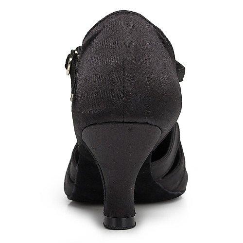 Customized Black Samba Shoes Women's T Dance Black Q Satin Heel T Modern q1wPT18