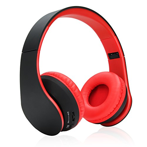Wireless Headphones, Danibos On-ear Bluetooth Headphones Stereo Headphones with Built-in Microphone for iPhone 7 6s, Samsung Galaxy S7 and Android Phones. (Red)