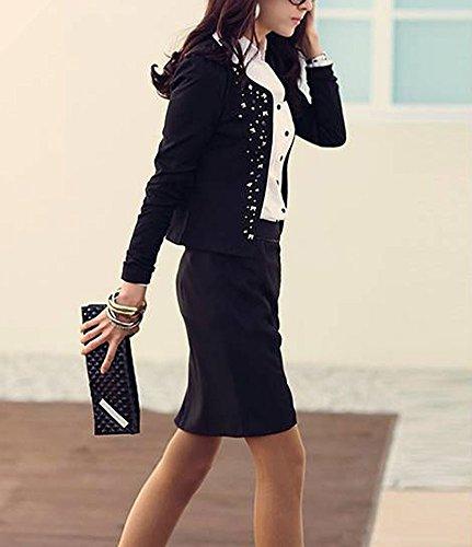 Lunga Autunno Rotondo Giacche Manica Blazer Nero Donna Collo Elegante Primaverili Giacca Outerwear Corto Giubbotto Femminile Moda Giovane nx8gPYqwX